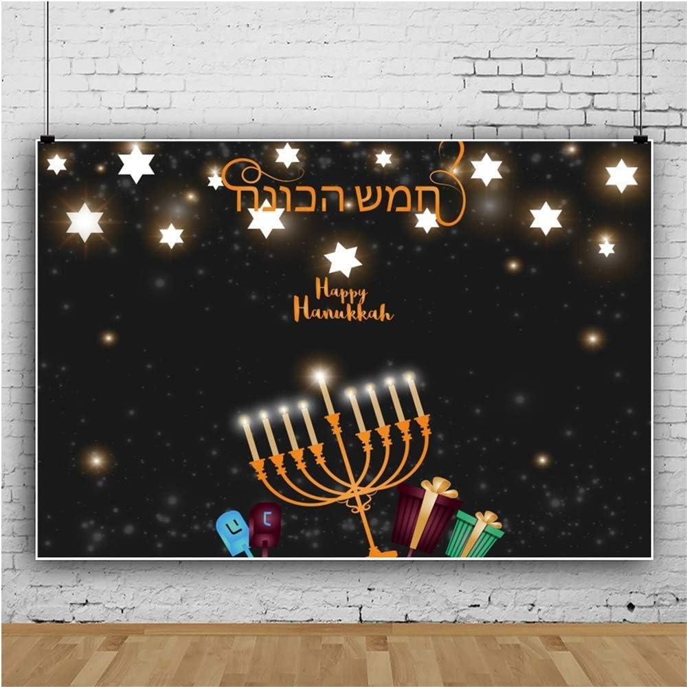 Happy Hanukkah Background 7x5ft Jewish Holiday Photography Backdrop Golden Candlesticks Star of David Sparkle Stars Bokehs Gifts Israel Judaism Festival Greet Photo Prop Studio Poster Decor