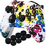 YoRHa Printing Rubber Silicone Cover Skin Case for Xbox One S/X Controller x 1(Graffiti) With PRO Thumb Grips x 8