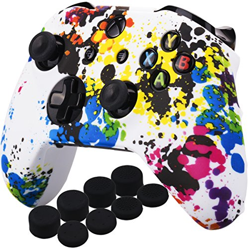 (YoRHa Printing Rubber Silicone Cover Skin Case for Xbox One S/X Controller x 1(Graffiti) With PRO Thumb Grips x 8)