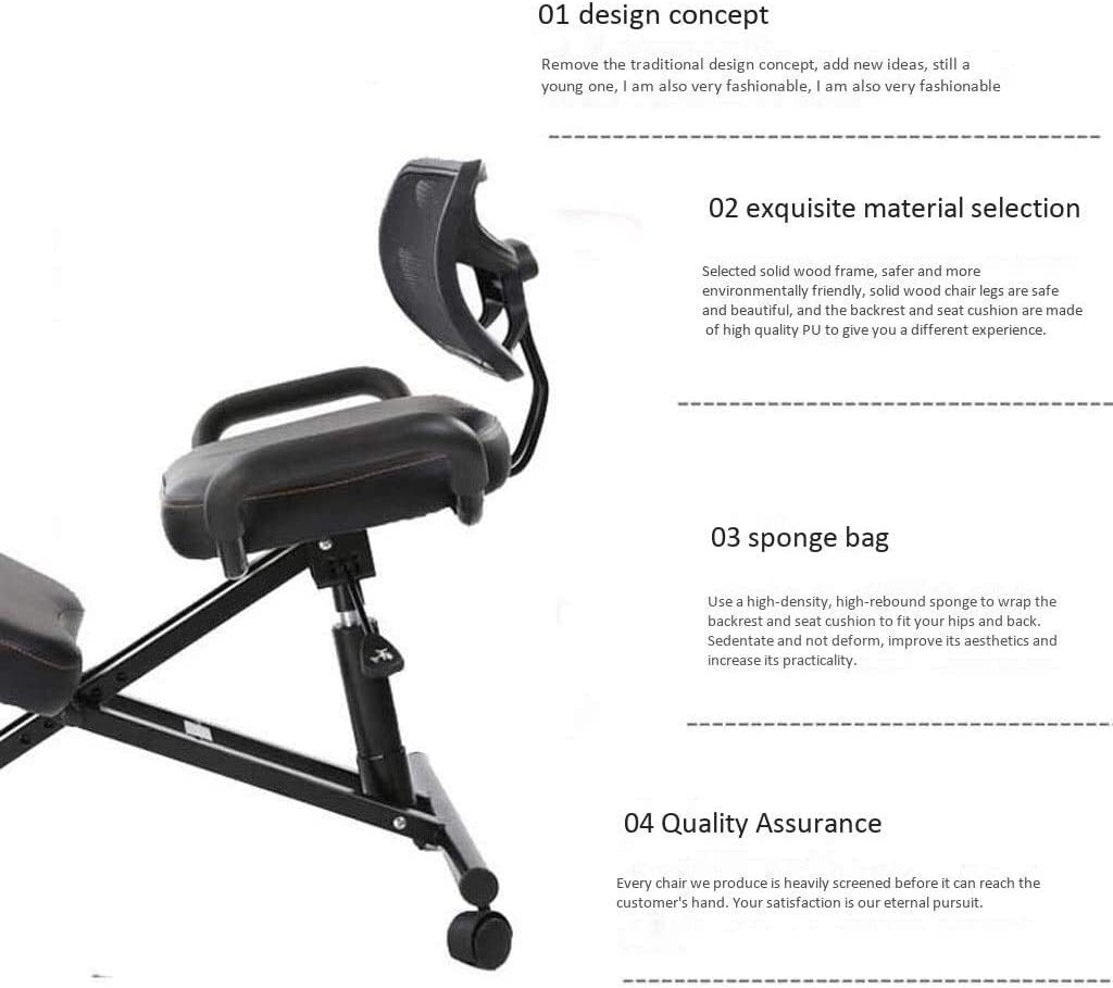 ZHJING Chaise ergonomique Genouillère pour chaise de bureau à dactylographier Chaise de jeu Chaise de bureau Dossier Soulage la fatigue Correcte posture assise Rouge