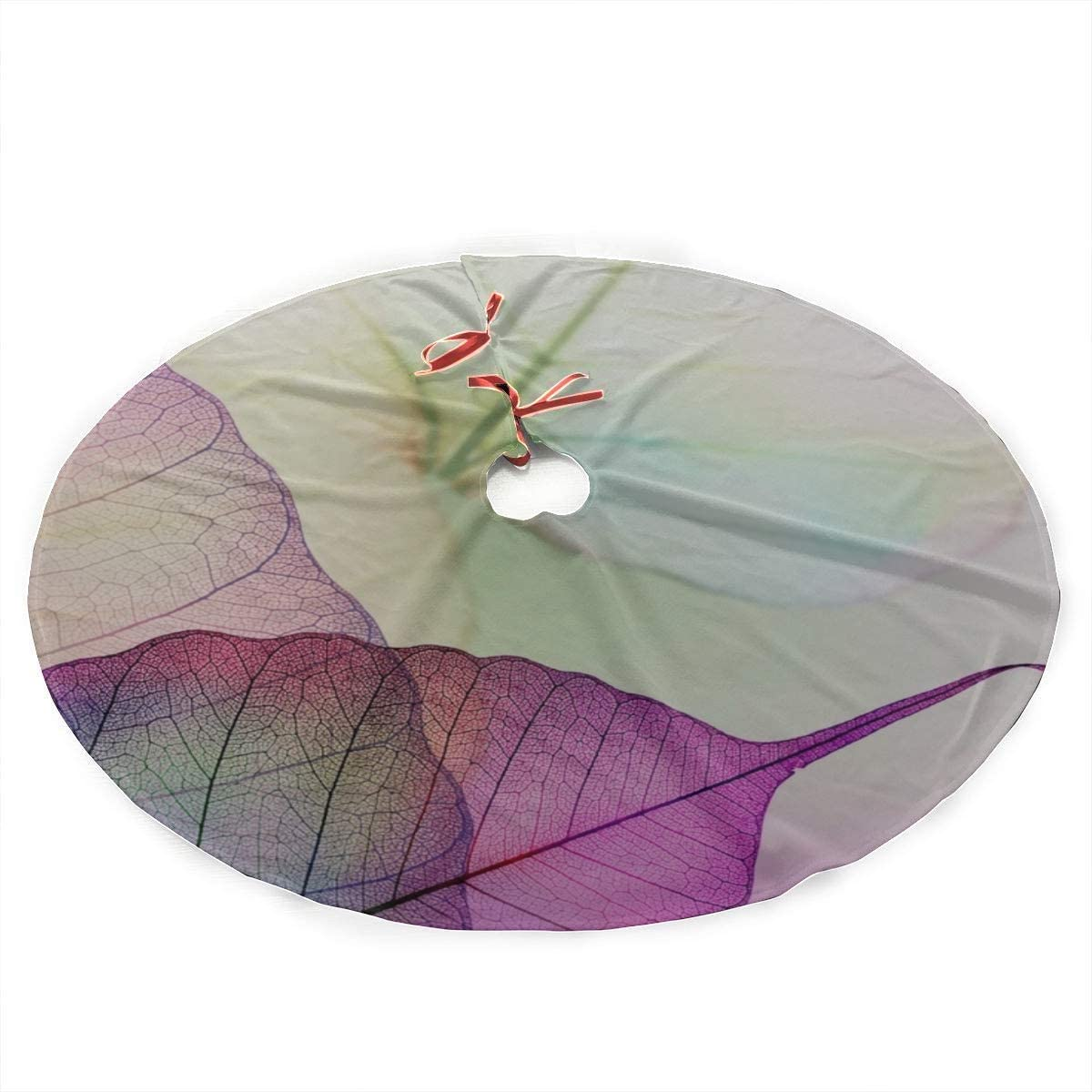 BJJHMY Falda de árbol de Navidad Hojas Malva Violeta Transparente ...