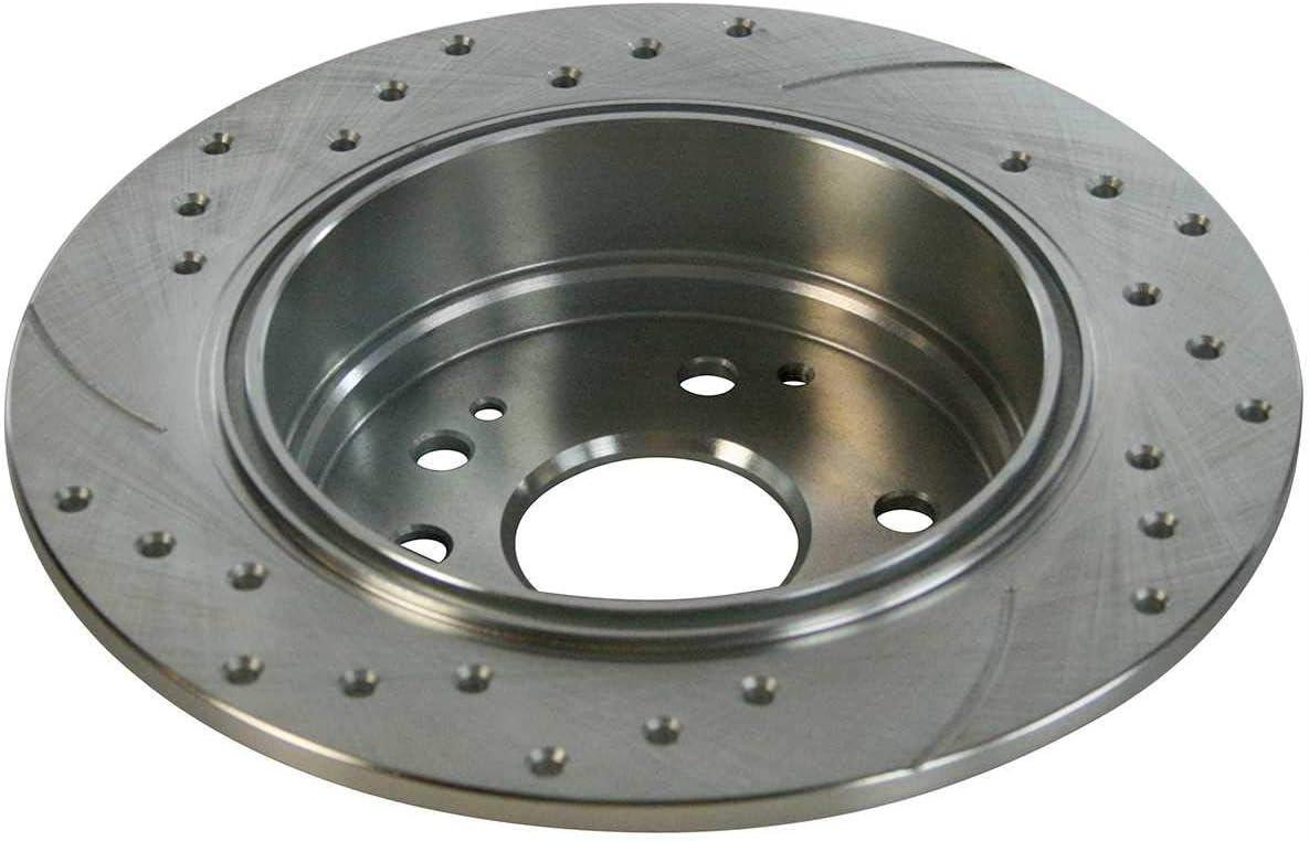 Auto Shack SRBRPKG00052 Rear Disc Brake Caliper Semi Metallic Brake Pad and Performance Rotor Bundle Silver 1 Piston Caliper