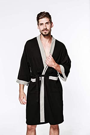 ATYMD Bata de baño para Hombres Bata 100% algodón Toalla de Bata de baño Albornoz Baño Gimnasio Ducha SPA Hotel Robe Holiday,Black,S: Amazon.es: Hogar