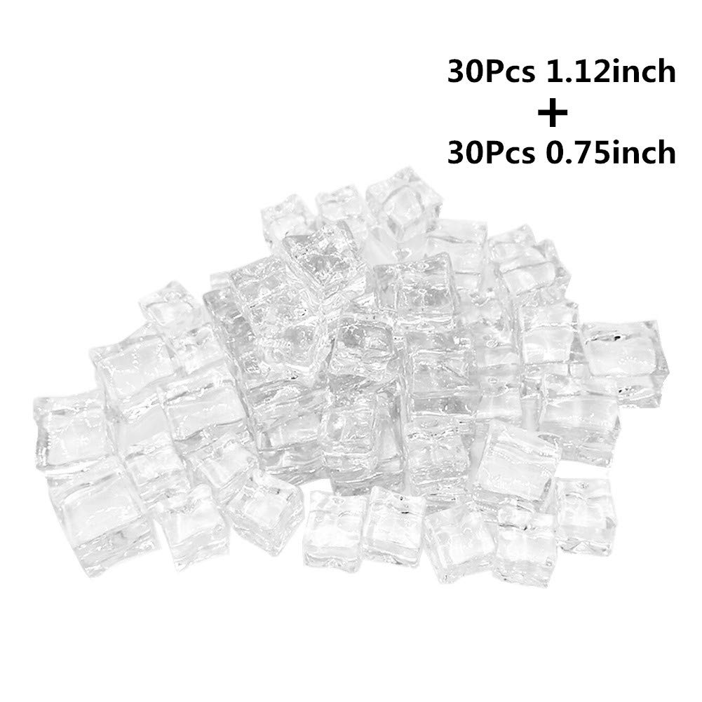 Clear Fake Acrylic Ice Cubes, 60Pcs Square Shape for Home Display Decor Photography Props Whisky Drinks Vase Fillers Festive Party Supplies
