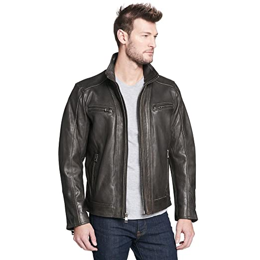 Wilsons Leather Mens Vintage Leather Fadedseam Cycle Jacket 2xl