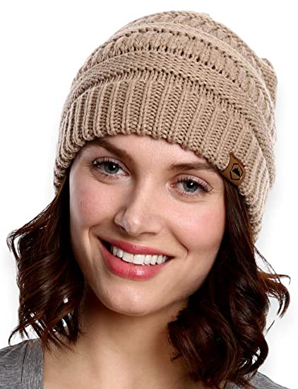 45b9c58ac17cb Amazon.com  Tough Headwear Cable Knit Beanie - Thick