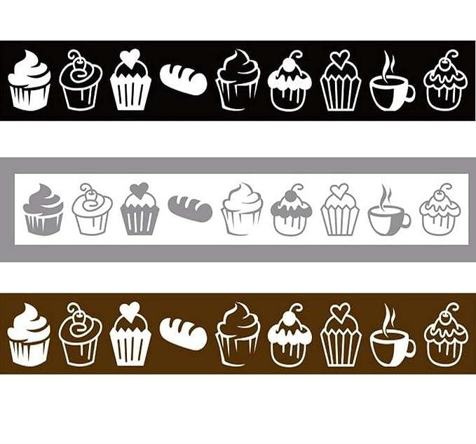 Packung 3 Kuchen / Desserts / Cafe Shop Glas Tür Benachrichtigung Aufkleber / Abziehbild