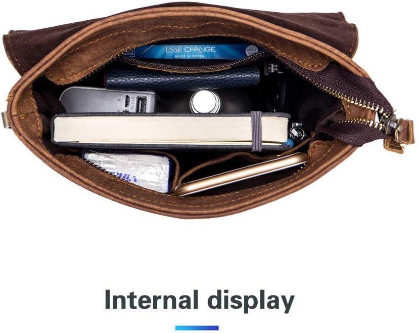 Casual Trabajo MANNUOSI Bolso Bandolera Cuero Hombre Bolsa Bandolera para iPad para Deportes Viajes Marr/ón