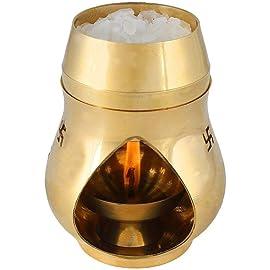 Himshikhar Products Vastu/Feng Shui Brass Aroma Incense Burner Camphor Lamp/Oil Diffuser with Diya, Medium, Golden