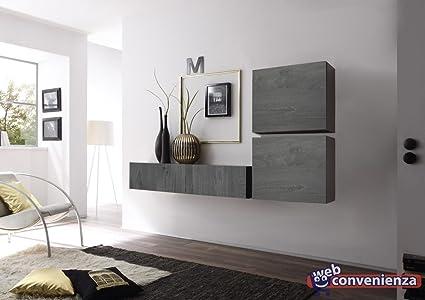 Cube 7 Rovere Grigio Parete Attrezzata Soggiorno Minimal: Amazon.it ...