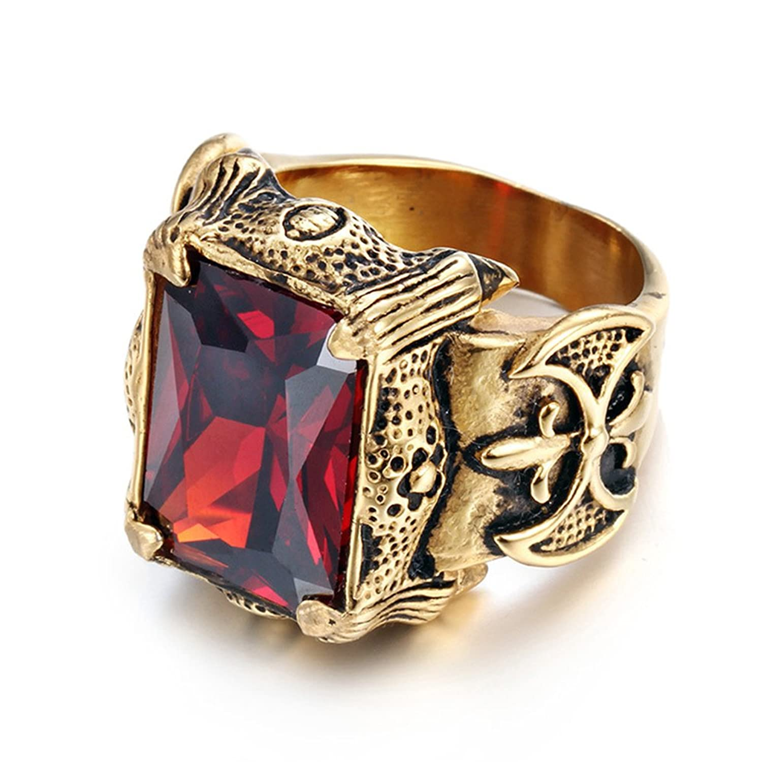LILILEO Jewelry 361L Gold Titanium Steel Retro Ax Dragon Claws Red Square Zircon Ring For Men's Rings