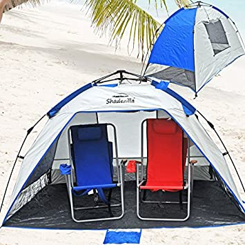 Shadezilla Deluxe Easy Setup Pop Up Beach Tent Sun Shelter UPF 100