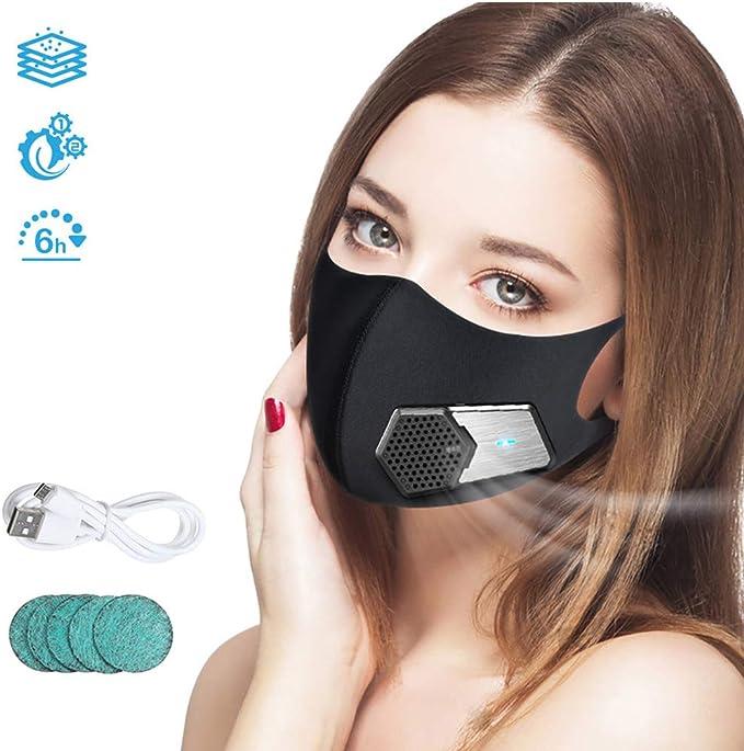 YA Inteligente Protector Facial eléctrico, Negro Filtro de purificador de Aire antipolución Filtro de carbón ...