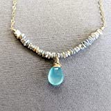 Seafoam chalcedony cultured saltwater pearl necklace by Kahili Creations