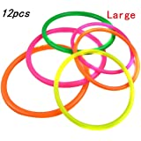 Ellami 12 Pcs Large Size Plastic Toss Rings for Speed and Agility Practice Games