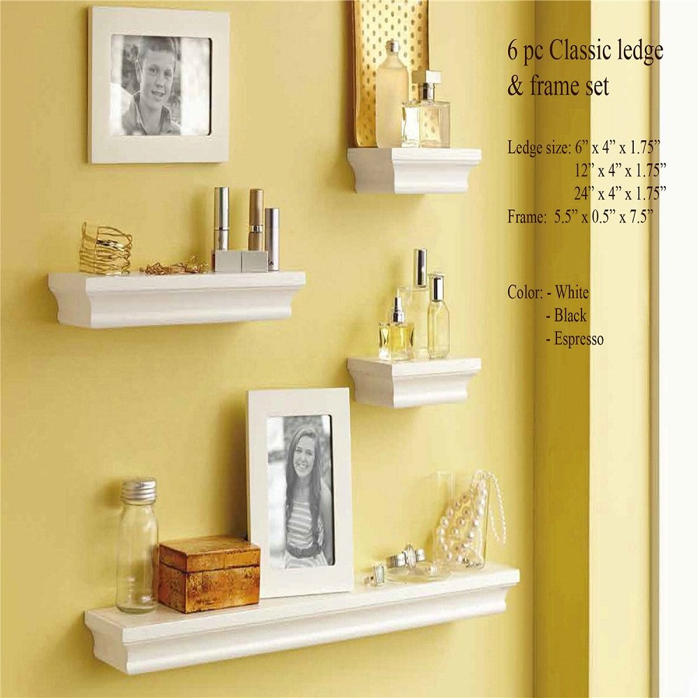 Decorative Wall Shelves and Photo Frame set of 6pcs in White finish ...