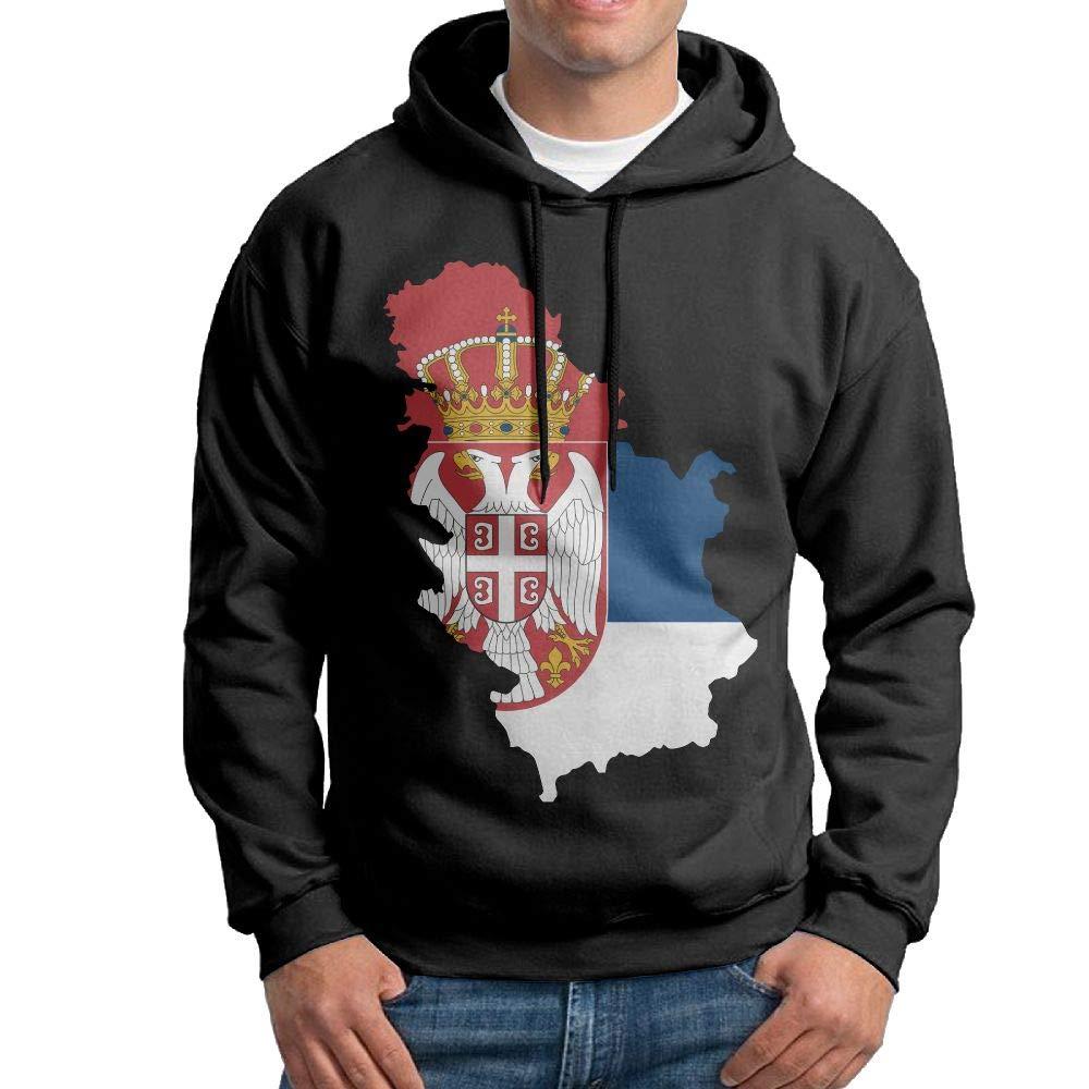 Vtw24i-5 Mens Hooded Sweatshirt Warm Serbia Map Cotton Outwear for Mens
