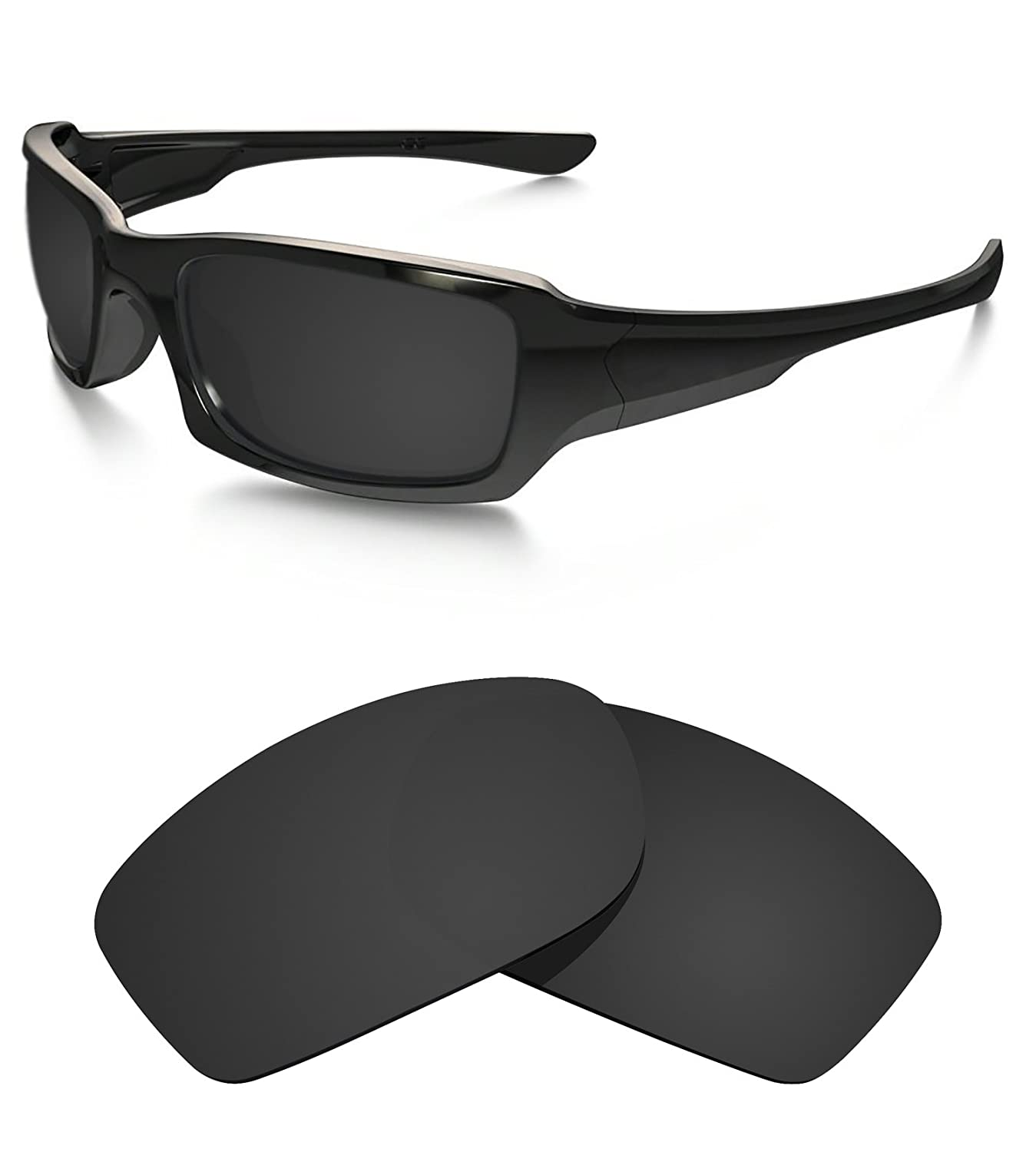 1caec5009bf Amazon.com   Littlebird4 1.5mm Polarized Replacement Lenses for Oakley  Fives Squared Sunglasses - Multiple Options (Dark Black)   Sports   Outdoors