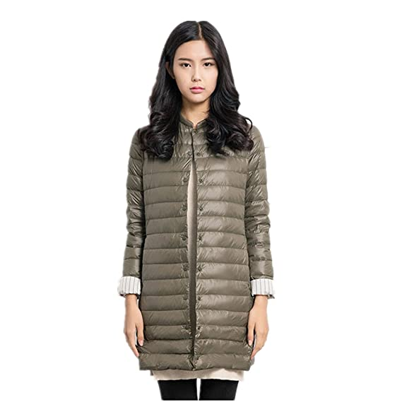 on sale 9a0e6 1b368 Newbestyle Winter Damen Lange Leichte Daunenjacke Dünne Jacke Stehkragen  Mantel Verpackbare Steppjacke
