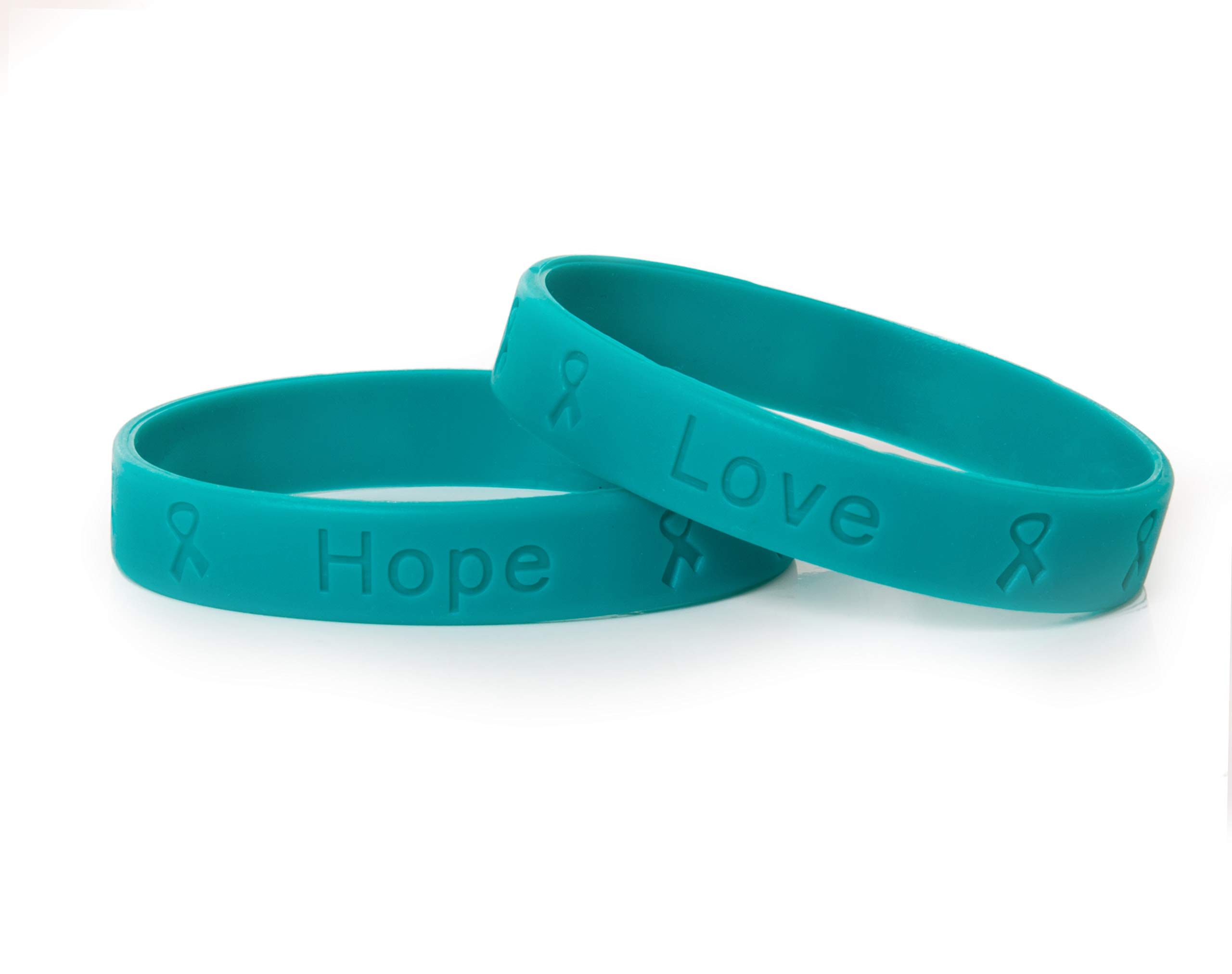 Teal Anti-Bullying Silicone Bracelets - Adult Size (Wholesale Pack - 50 bracelets)