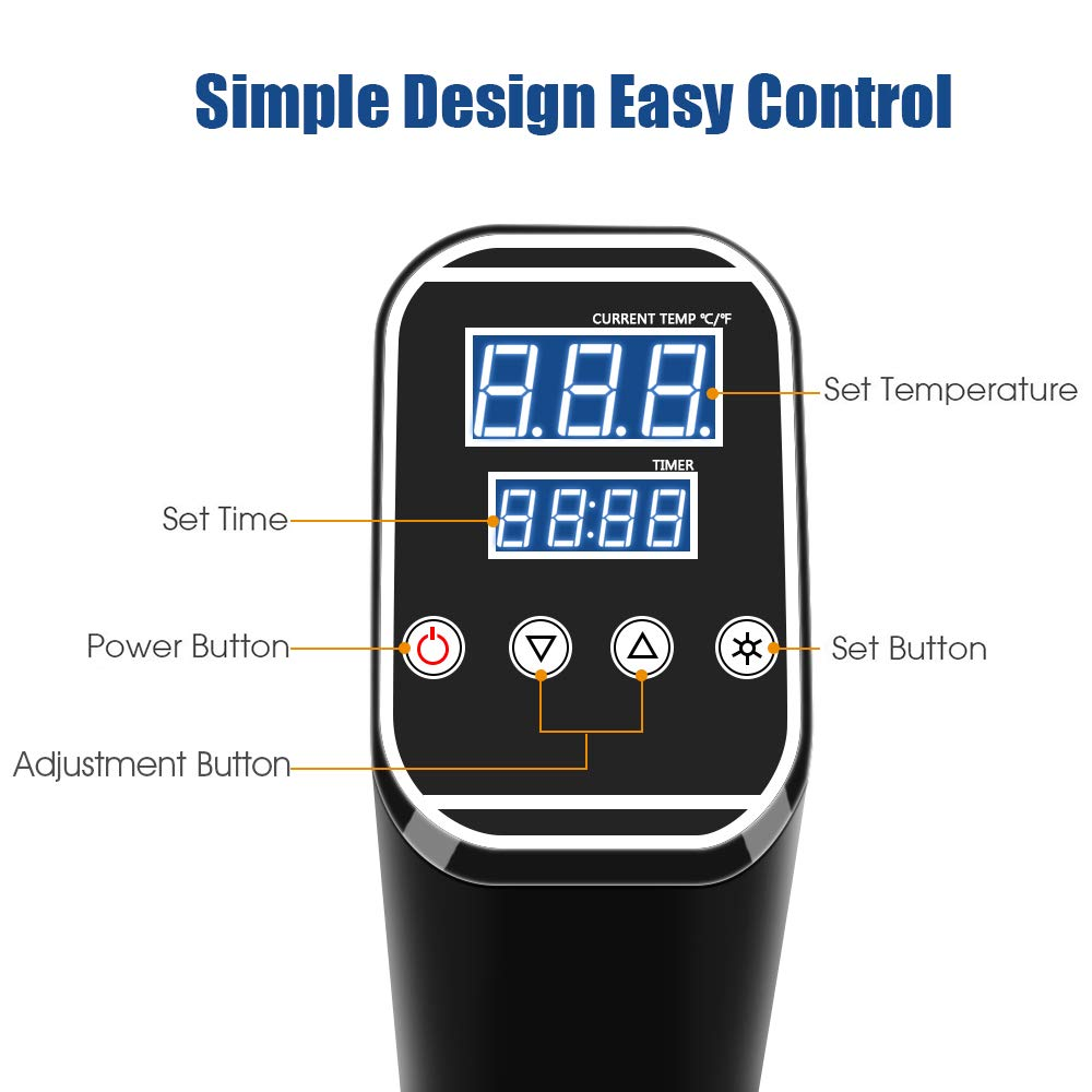 Sous Vide Cooker Accurate Immersion Cooker,1000W,Easy To Use Temperature and Time Settings by Fofashion (Image #4)
