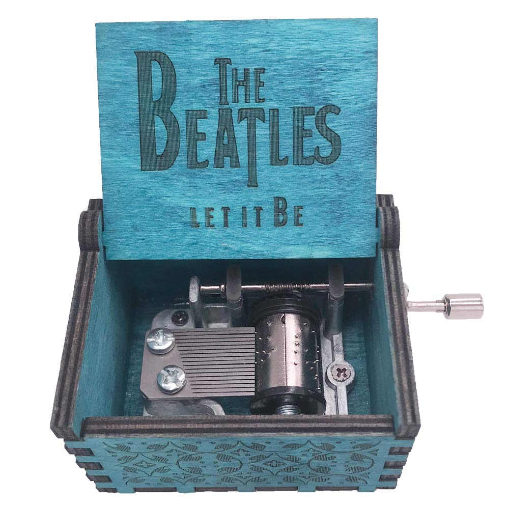 The Beatles Music Box Hand Crank Musical Box Carved Wood Musical Gifts,Play Let it Be,Blue