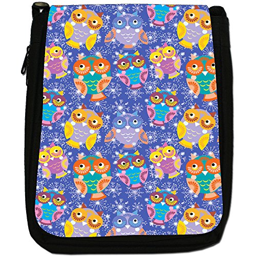 Owls With Snowflakes Shoulder Canvas Black Cute Wallpaper Eye Owl Pretty Big Medium Bag Size CBq4w76