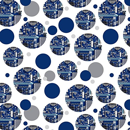 Premium Gift Wrap Wrapping Paper Roll Pattern - Places and Things - Blue Computer Motherboard Processor CPU ()