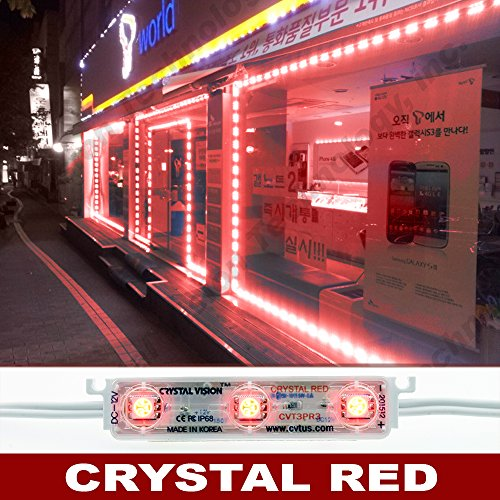 Crystal Vision Korean Genuine 5050 Bright LED Module Store Front Window Kit/Plug-in and Play Pre-installed/ 100W Made in Korea w/Warranty (Red 50ft)