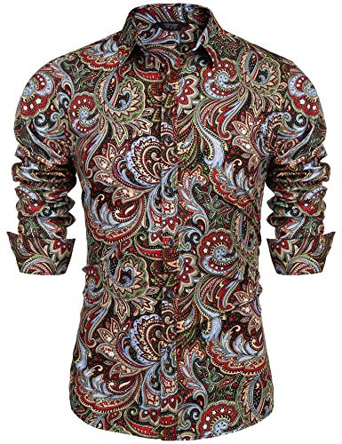 COOFANDY Men's Floral Print Button Down Casual Long Sleeve Hawaiian Retro Flower Shirt(Wine Red,XL)