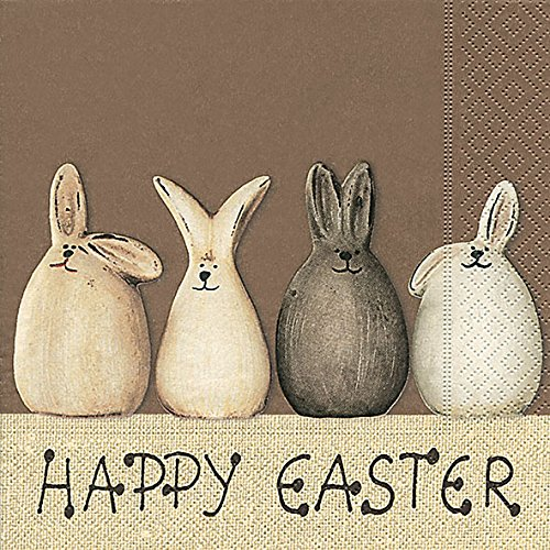 20 Servietten Happy Easter Bunnies - Happy Easter Hasen / Ostern / Frühling 33x33cm