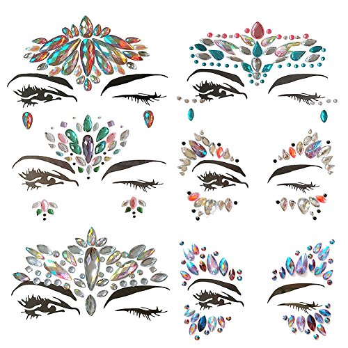 DK Face Gems Rave Festival Rhinestones Mermaid Bindi Temporary Tattoos Body Stickers Mermaid Festival Crystal Jewelry 6 Sheets – Perfect for A Dress-Up or Costume Party (Collection 3)