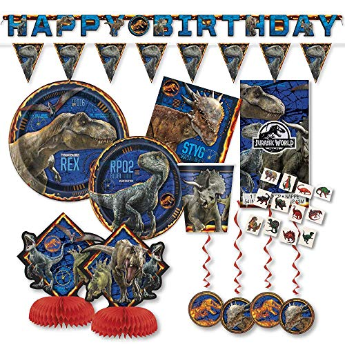 Jurassic World Fallen Kingdom Party Supplies Pack for 16 Guests - Includes Paper Lunch & Cake Plates, Napkins, Cups, Banner, Table Cover, Decor Kit, Tattoos -