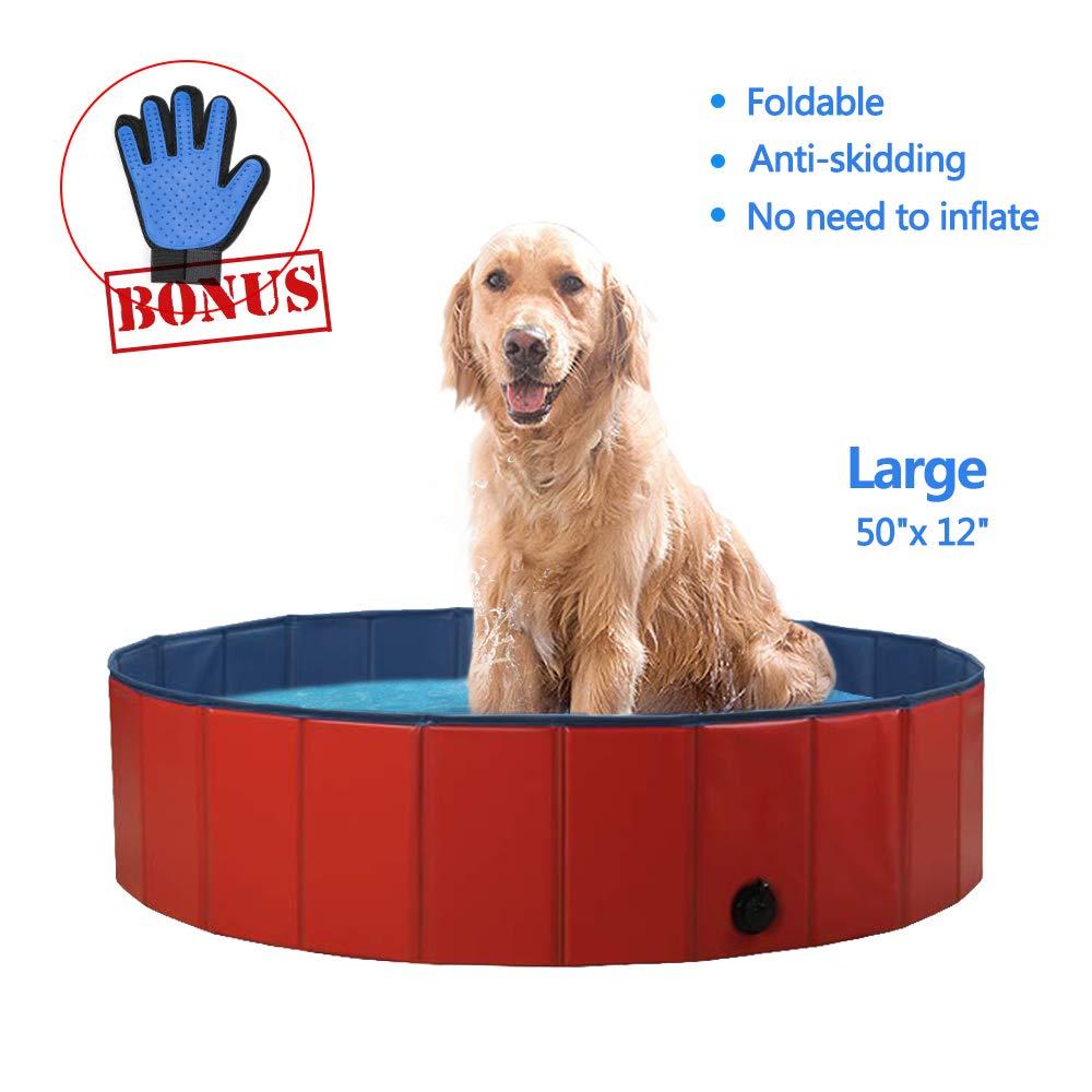 SURPCOS Foldable Dog Pool - Folding Dog/Cat Bath Tub - Collapsible Pet Spa Whelping Box (Large (50''x 12''))