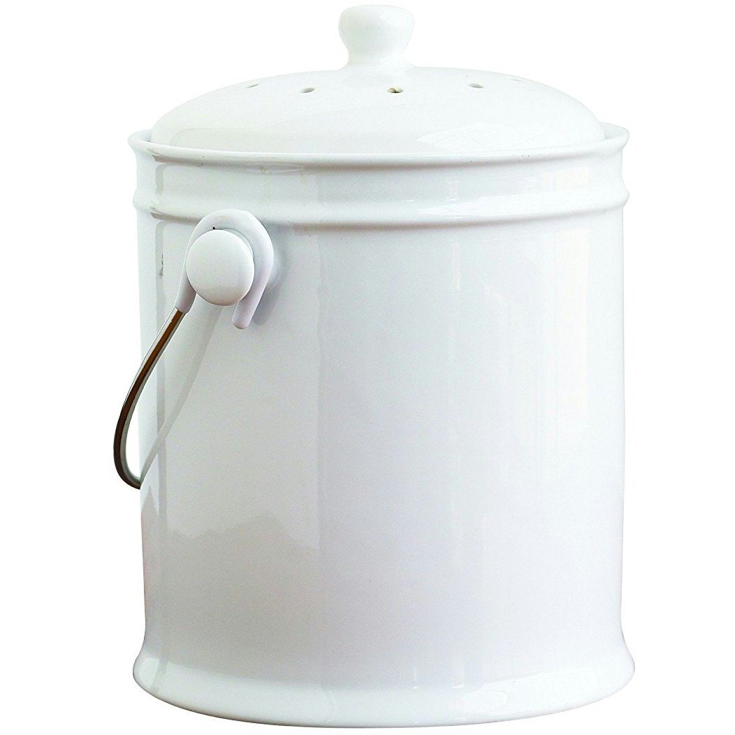 Natural Home 1-Gallon Ceramic Compost Bin with Filter