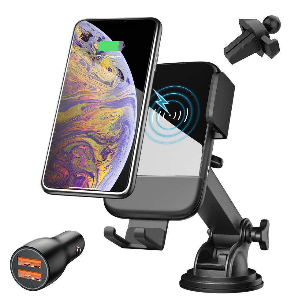 Wireless Car Charger Mount, CTYBB Air Vent Dashboard Phone Holder, 7.5W Fast Charging Compatible for iPhone Xs/Xs Max/XR/X/8/8P, 10W for Galaxy S10/S10+/S9/S9+/S8/S8+, QC 3.0 Car Charger Included