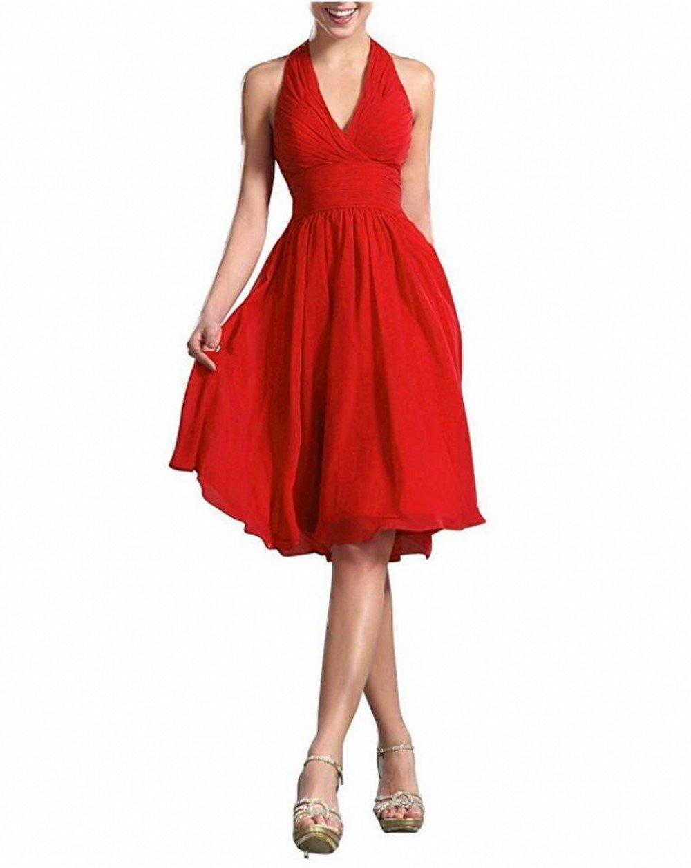 Botong V-Neck Homecoming Dress Knee Length Chiffon Bridesmaid Dresses Red US2
