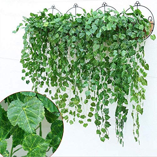 YSBER 12pcs 90 Feet Artificial Ivy & Silk Fake Ivy Leaves Hanging Vine Leaves Garland for Wedding Party Garden Wall Decoration (Grape -