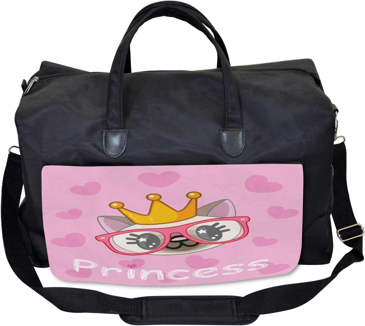 Happy Princess Cat Large Weekender Carry-on Ambesonne Feminine Gym Bag