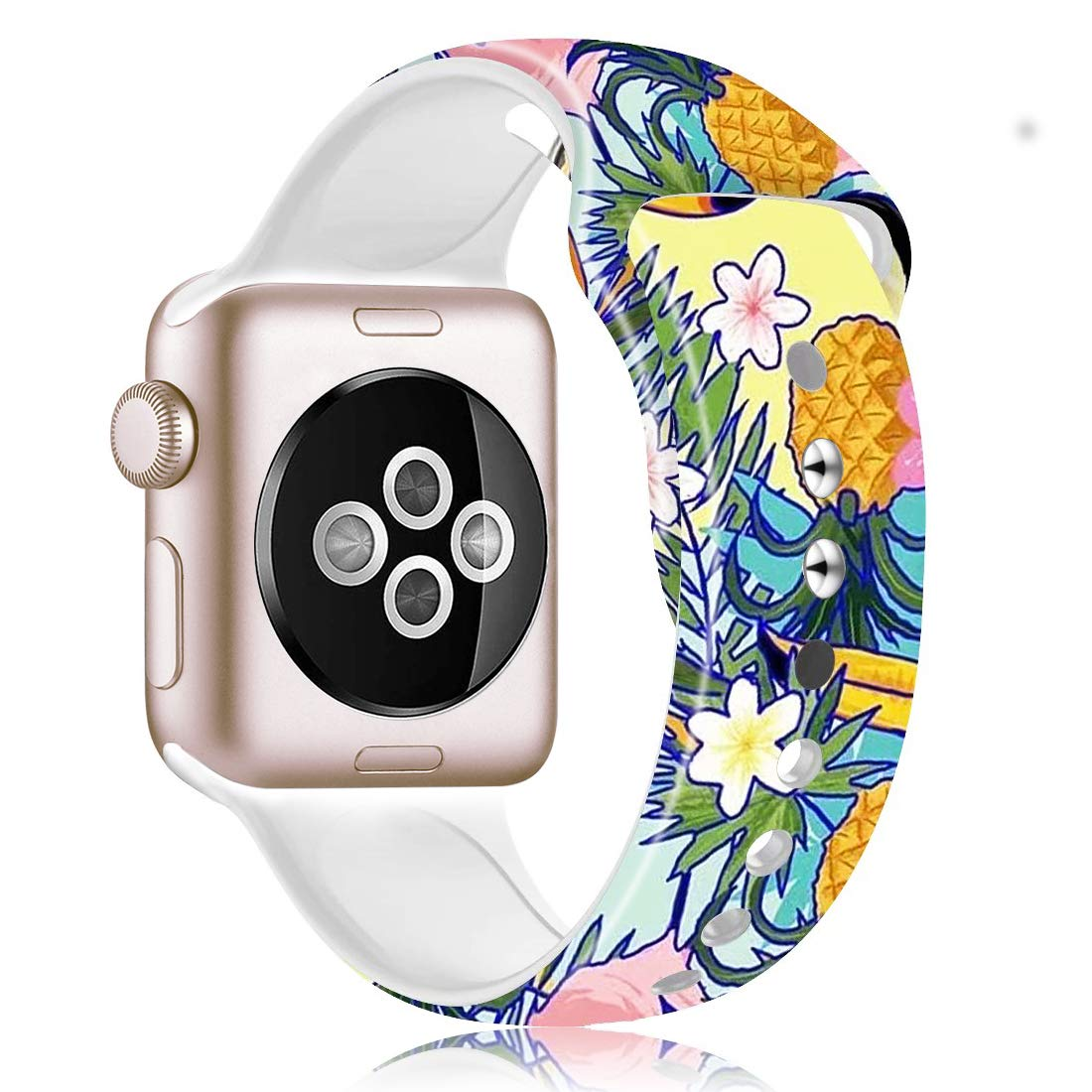 Epsky Compatible with Apple Watch Band Silicone Fadeless Pattern Printed Replacement Floral Strap for iWatch Series 5 Series 4 3 2 1 with 38mm/40mm or 42mm/44mm (Cat paw 3in1, 42mm/44mm)