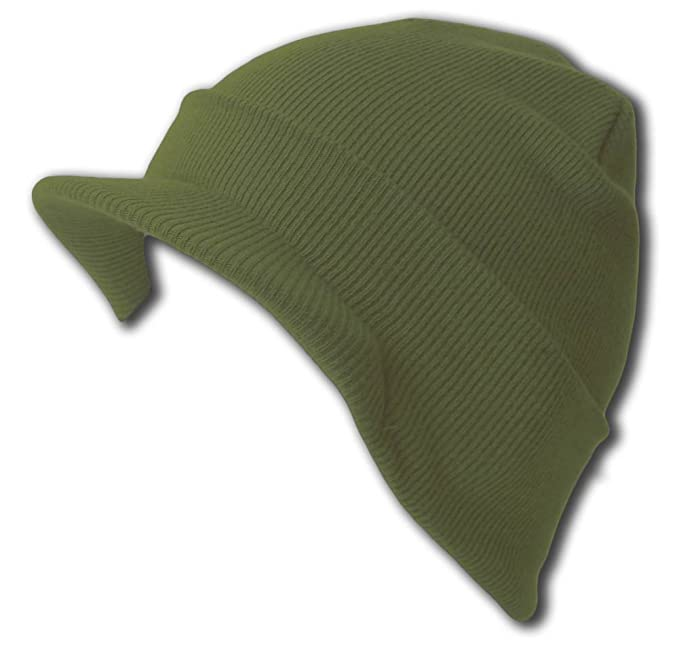 40080fc8d25 Image Unavailable. Image not available for. Color  New Olive Cuff Beanie  Visor Jeep Cap