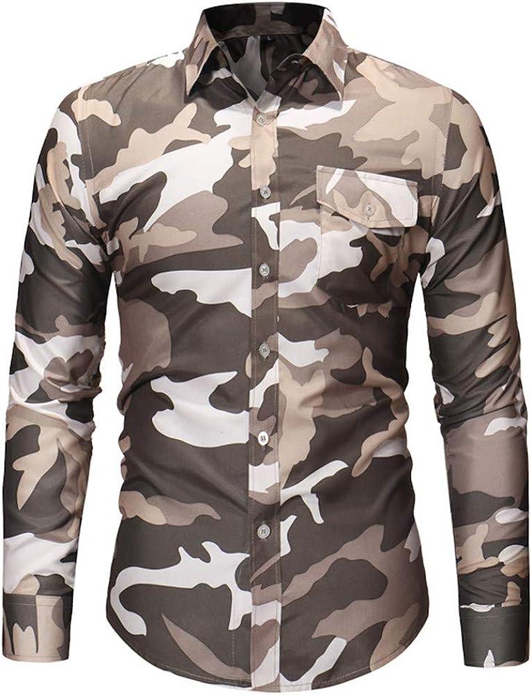 Gran promoción! Camisa de Manga Larga Informal de Bolsillo de Camuflaje otoñal de los Hombres Top Blusa de Internet: Amazon.es: Ropa y accesorios