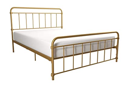 DHP Wallace Metal Bed Frame In Black With Vintage Headboard And Footboard No Box Spring