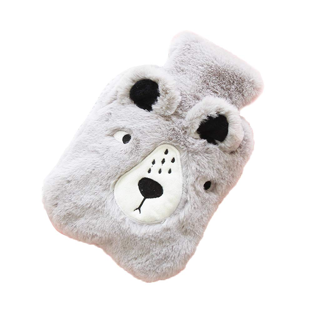 Topdo Hot Water Bottle with Cover Warm Palace Warm Water Bag Water Injection Hot Water Bottle Winter Creative Cartoon Student Plush Bear Portable Hand Warmers (S) Size 2014cm (Gray Bear)