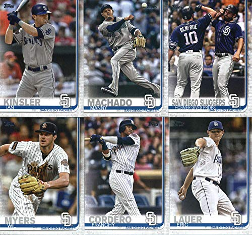 (2019 Topps Complete (Series 1 & 2) Baseball San Diego Padres Team Set of 24 Cards: Jacob Nix(#33), Christian Villanueva(#56), Clayton Richard(#92), Eric Hosmer(#161), Manny Margot(#170), Franmil Reyes(#186), Luis Urias(#192), Austin Hedges(#234), Joey Lucchesi(#265), Kirby Yates(#347), Hunter Renfroe(#393), Fernando Tatis Jr.(#410), Francisco Mejia(#446), Greg Garcia(#450), Wil Myers(#485), Eric Homer(#487), Manny Machado(#500), plus more)