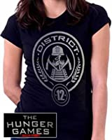 """AUTHENTIC LICENSED 100% COTTON JUNIOR HUNGER GAMES """"DISTRICT 12"""" SEAL T-SHIRT- HUN283B US"""
