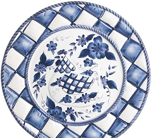 - Blue and White Painted Ceramic Victorian Chicken Plate for Displaying and Decorating