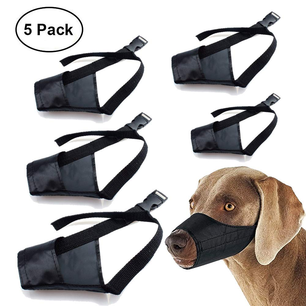 Dog Muzzle Nylon Set(5 in 1) Adjustable Breathable Safety for Small Medium Large Extra Dog Anti-Biting Anti-Barking Anti-Chewing Safety Predection(Black) (Black)