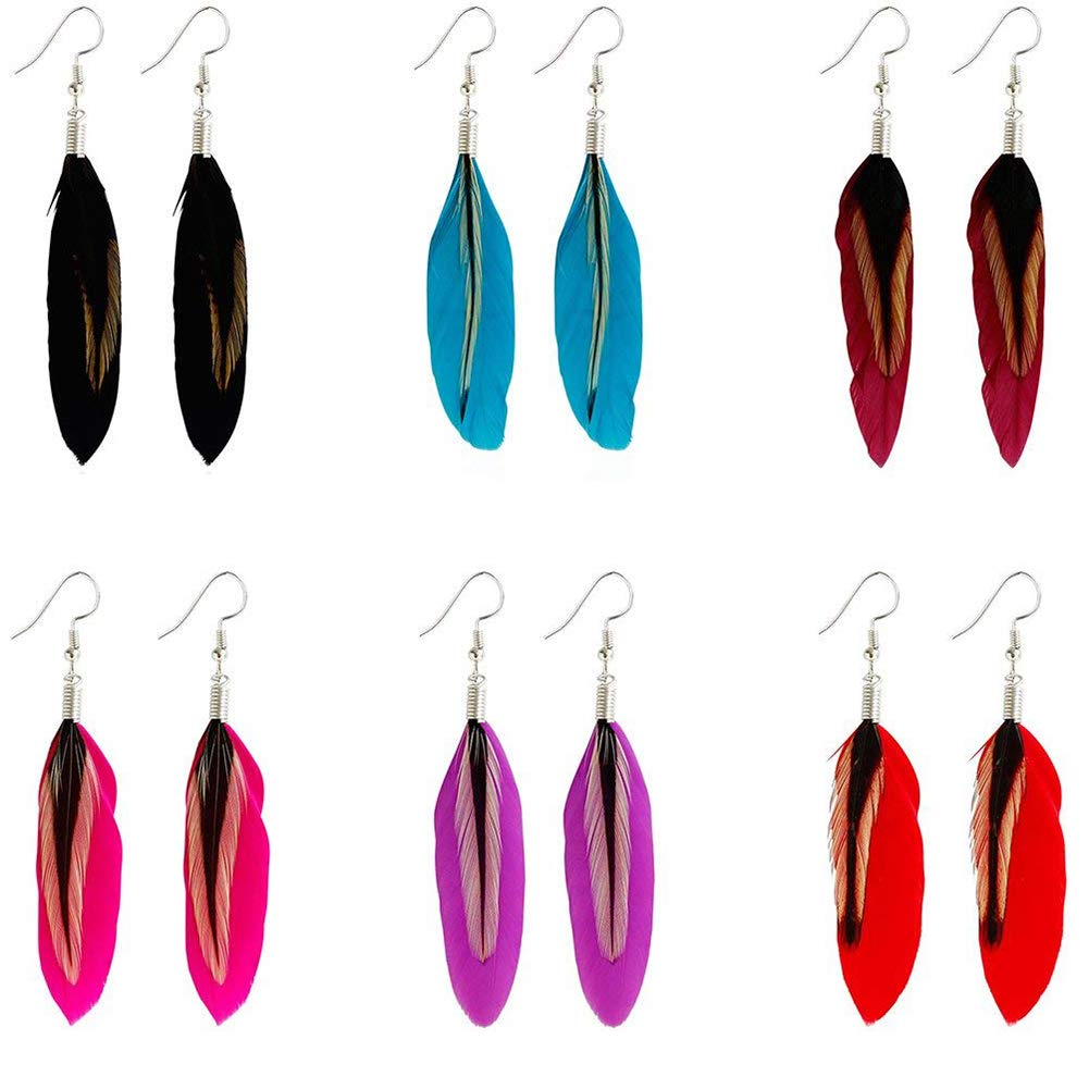 Runfon 2 PCS Fashion Women s Bohemian Handmade Vintage Feather Long Drop Earrings Dangle Black 1 PairFeather earrings black 1 pair