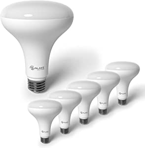 SunLake Lighting 6 Pack BR30 LED Bulb, 9.5W=65W, Dimmable, 2700K Soft White, E26 Base, Energy Efficient Recessed LED Flood Light Bulbs for Home, Ceiling Light, Office Space